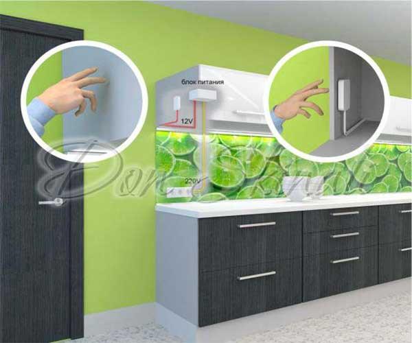 сенсорное управление подсветкой фартука