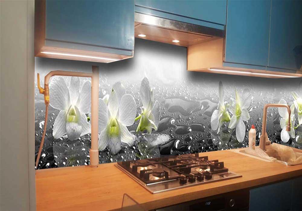 Фото фартук для кухни Орхидеи