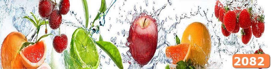 Скинали фрукты в брызгах